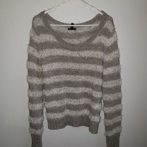 Gray and Silver striped sweater
